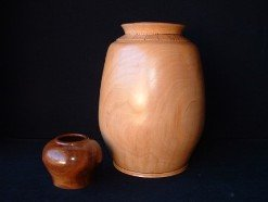 turned wood urn
